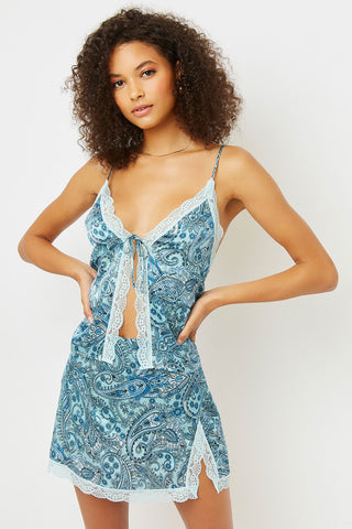 Blue Paisley Lace Tank Top