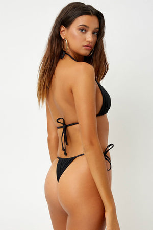 Load image into Gallery viewer, Black Ribbed Triangle Bikini Top