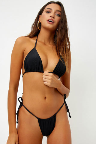 Black Ribbed Triangle Bikini Top