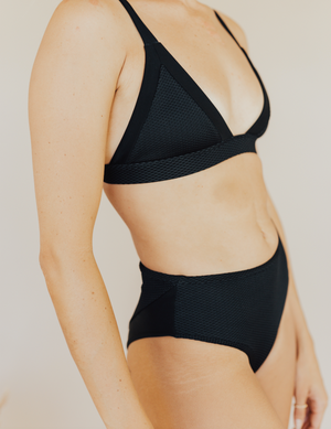 Load image into Gallery viewer, Black textured fixed triangle bikini top