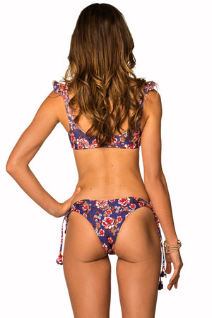 Load image into Gallery viewer, Purple floral print side tie bottoms