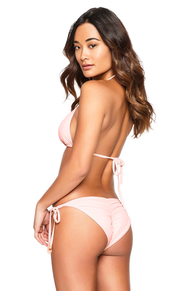 Baby pink ruched side tie bottoms