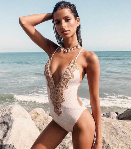 Plunge embroidered one piece