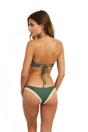 Load image into Gallery viewer, Green color block underwire bandeau