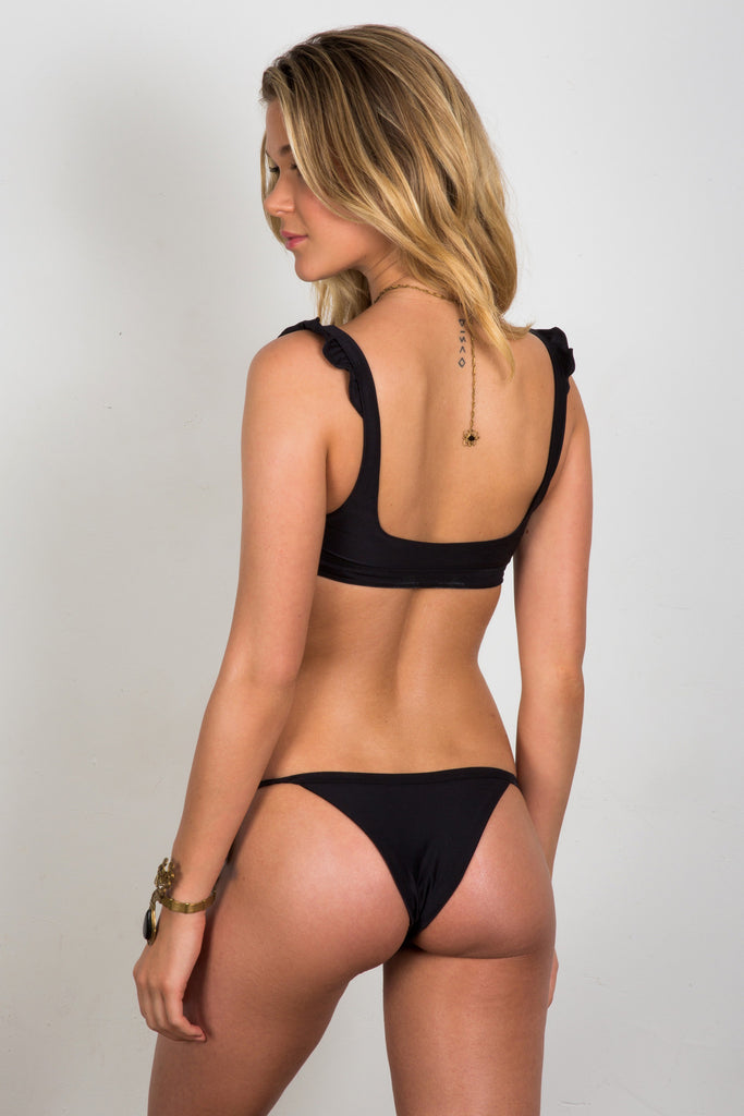 Black cheeky tie-side bottoms