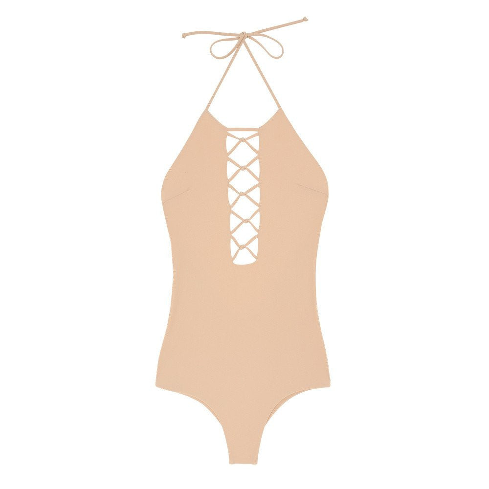 Nude latter halter one piece