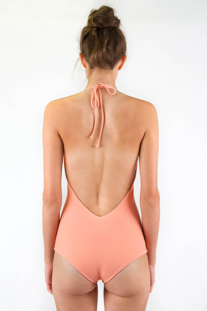 Light orange latter halter one piece