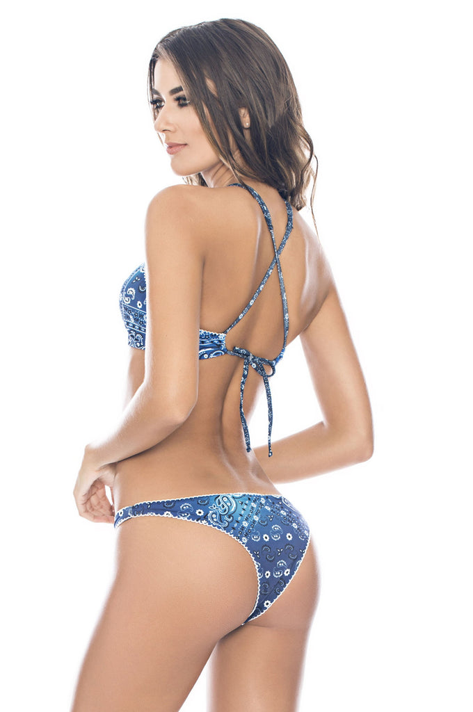 Blue paisley bandana print bottoms