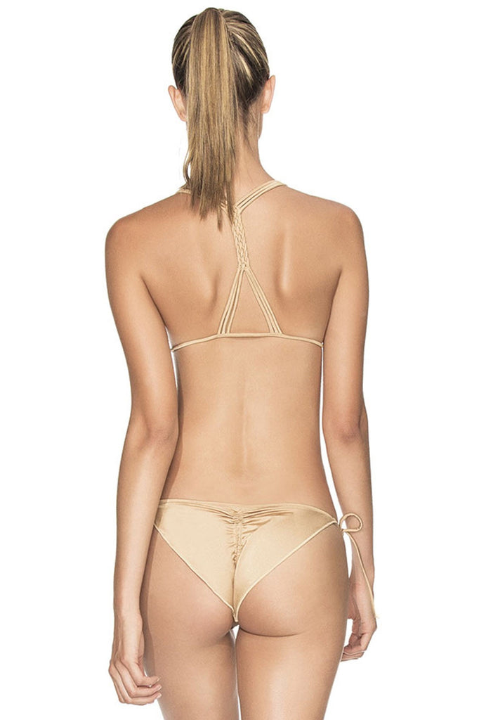 Gold hand beaded ruched side tie bottoms