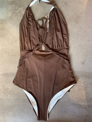 Load image into Gallery viewer, Brown reversible halter one piece