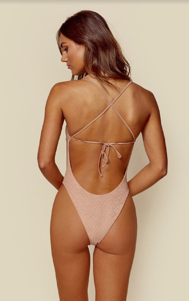 Beige cheeky one piece with gold hardware