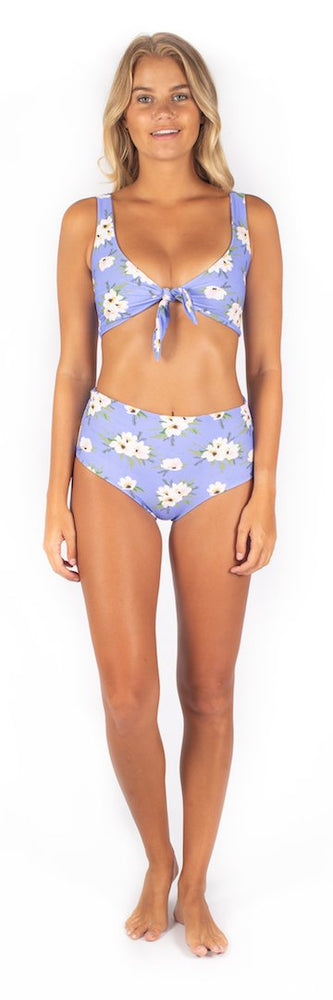 Load image into Gallery viewer, Blue floral print high waisted bottoms