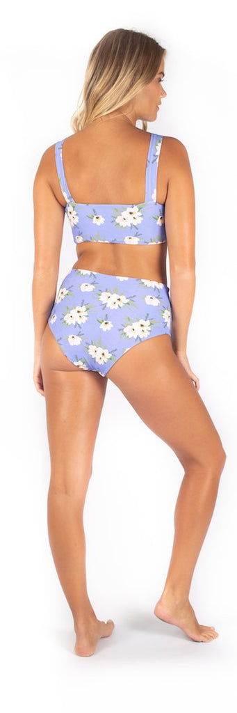 Blue floral print high waisted bottoms