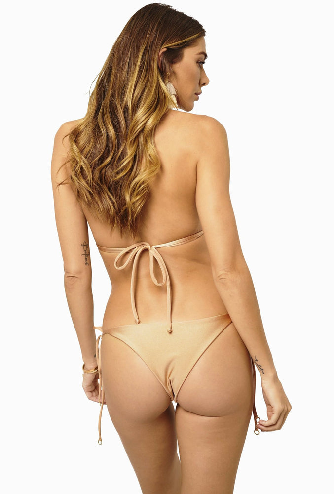 Load image into Gallery viewer, Rose gold tie-side cheeky bottoms