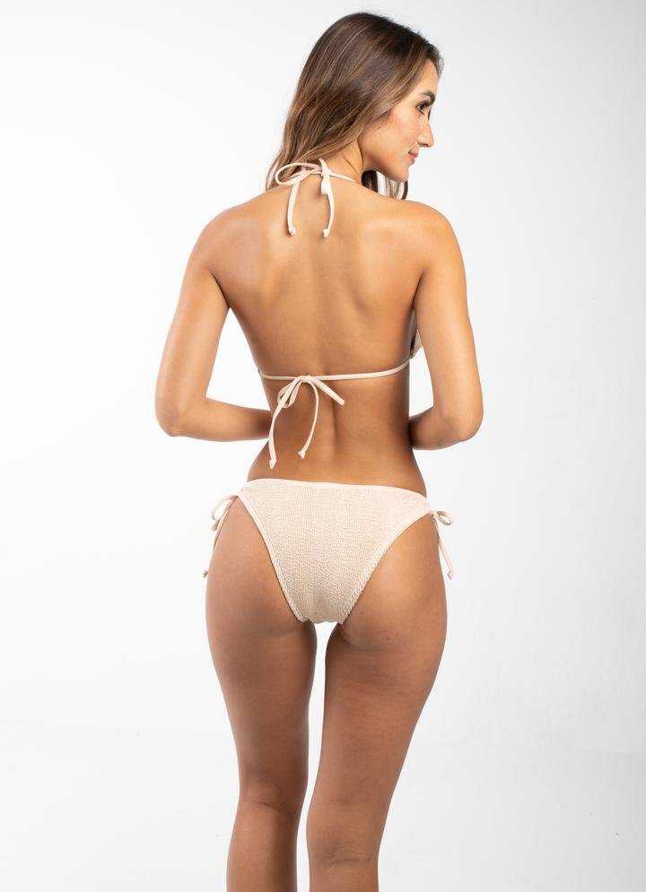 Tie Side Textured Bikini Bottom
