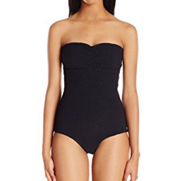 Black smocked strapless one piece