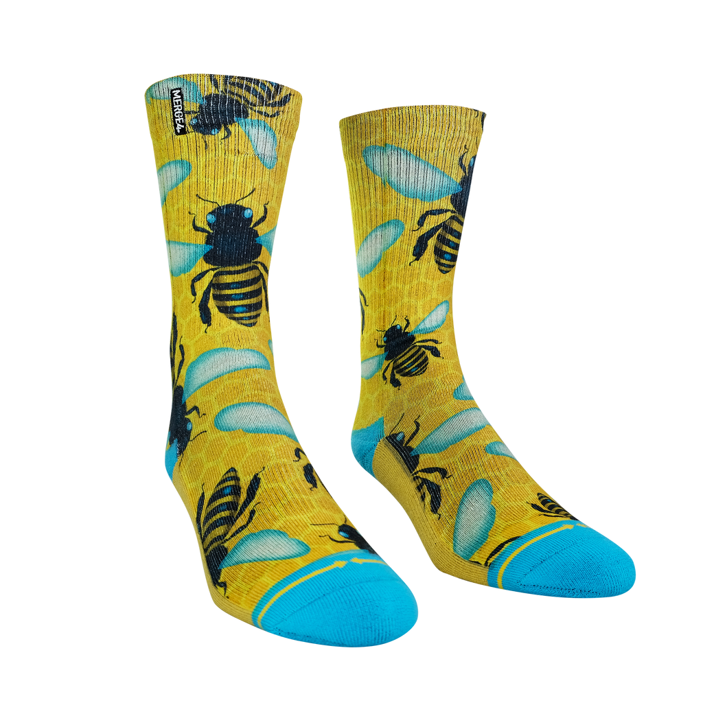 Honey Bee Print Crew Socks