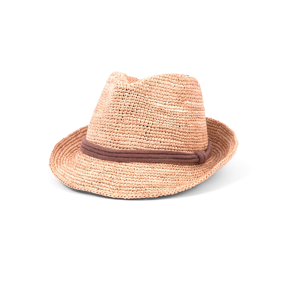 Woven fedora with brown rope