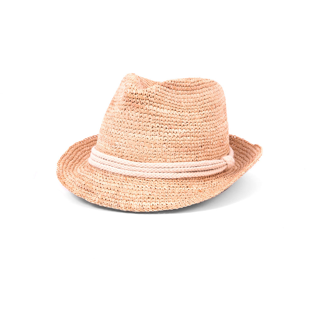 Woven fedora with with white rope