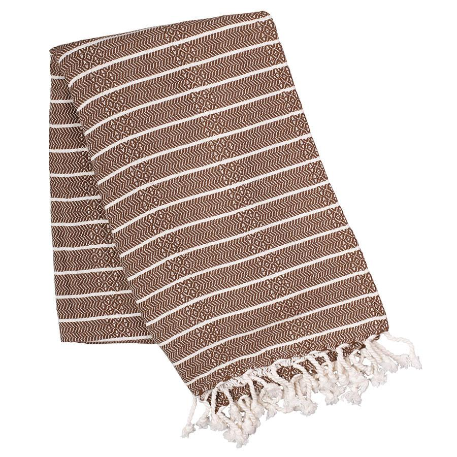 Brown striped Turkish towel