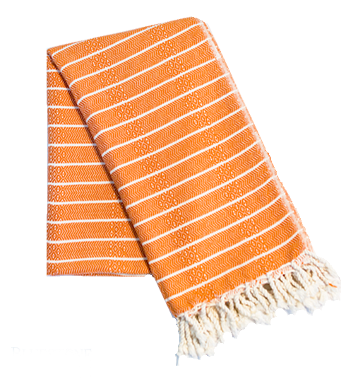 Orange striped turkish towels