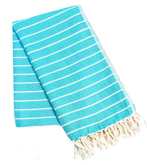 Light blue striped turkish towel