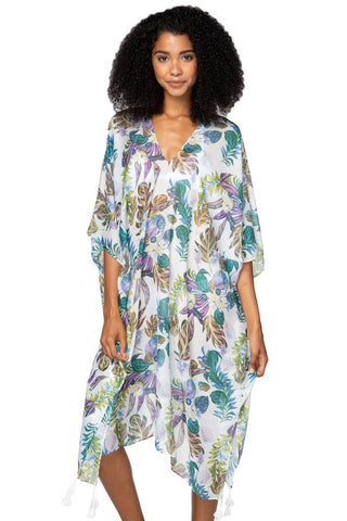 Blue and green palm print kaftan