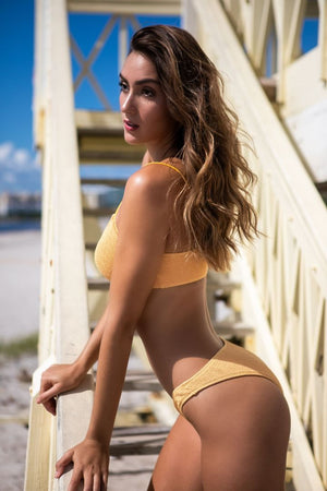 Load image into Gallery viewer, Textured Mustard Yellow Bikini Bottom