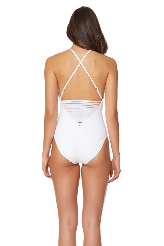 White Splice & Dice High-Neck One Piece