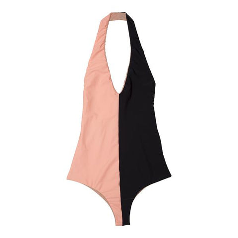 Pink and black halter one piece