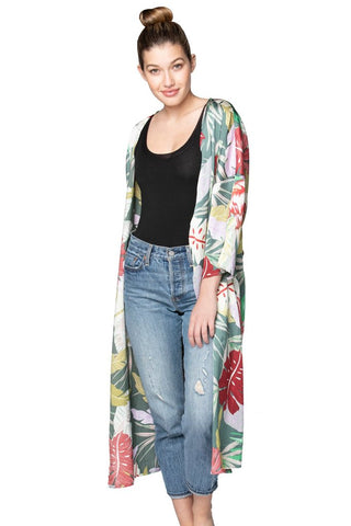 Green and red palm print kimono
