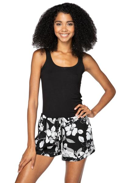 Black and white floral print shorts