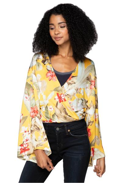 Tie Wrap Top in tropical yellow print