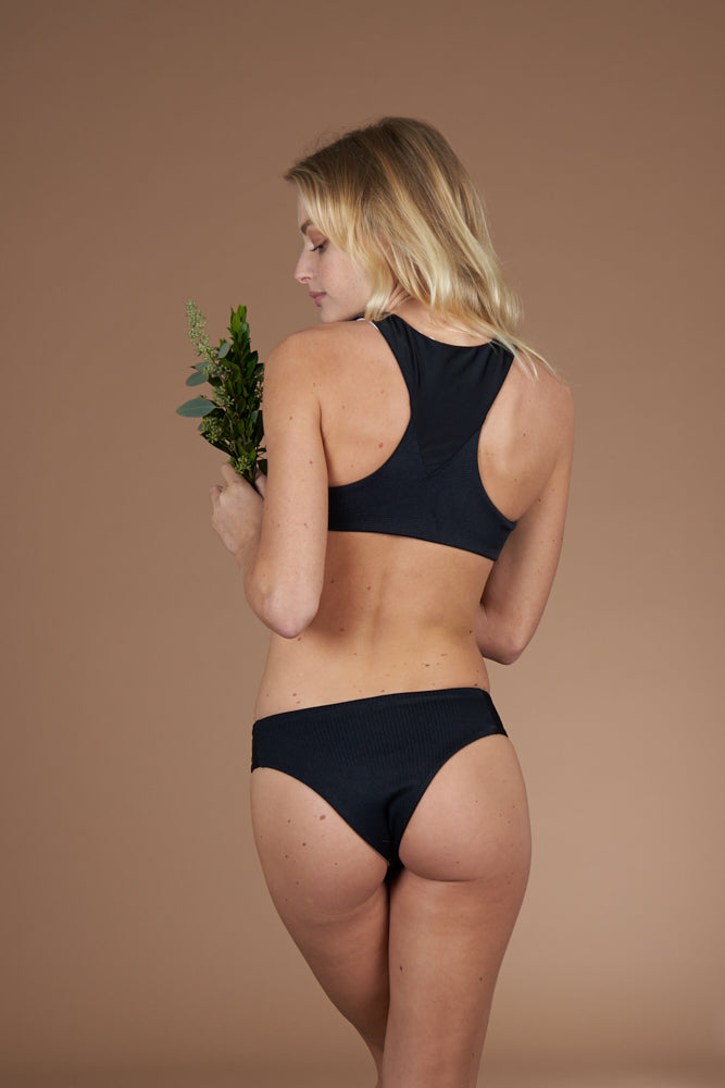 Textured black cheeky bottoms