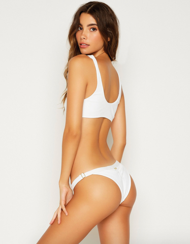 adjustable, white, bikini bottoms