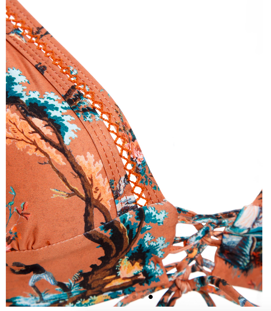 Load image into Gallery viewer, Rust Colored Tropical Print Triangle Top