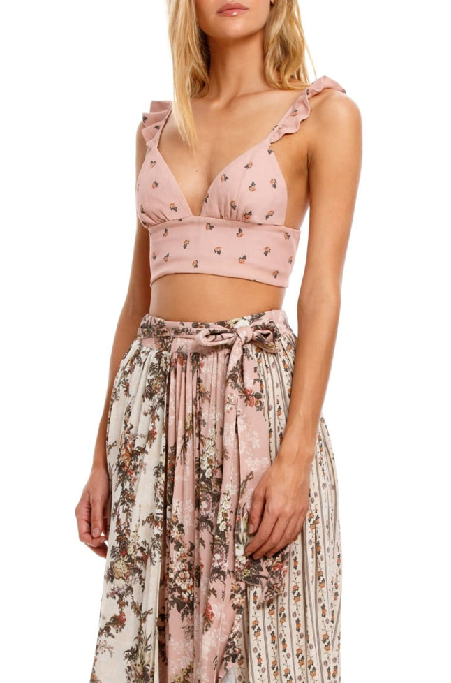 Pink Flower Print Ruffle Strapped  Top