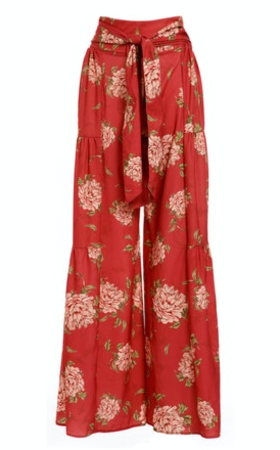 Load image into Gallery viewer, Red Flower Print Pants