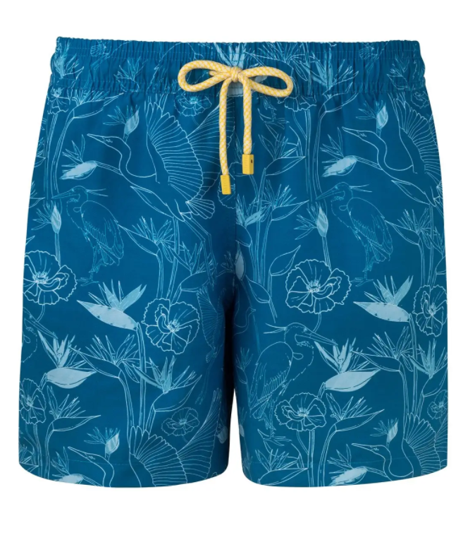 Blue Printed Swim Trunks