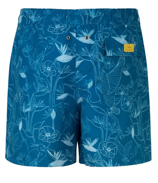 Load image into Gallery viewer, Blue Printed Swim Trunks