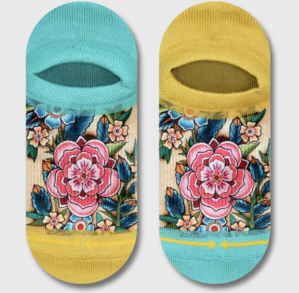 Turquoise And Yellow Flower Print Socks