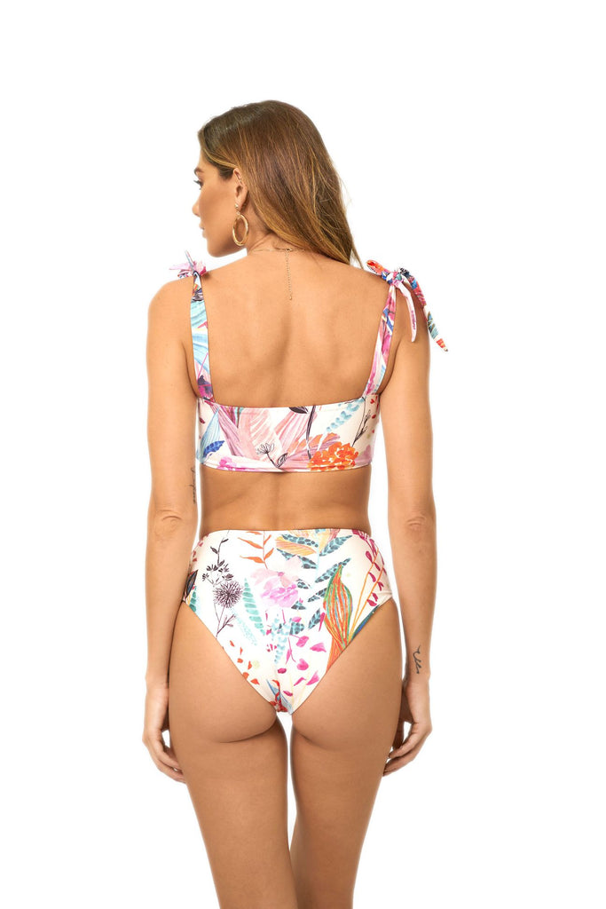 White floral high waisted bottoms