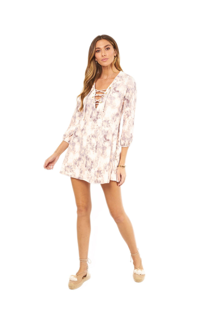 Pink tie-dye long sleeve dress