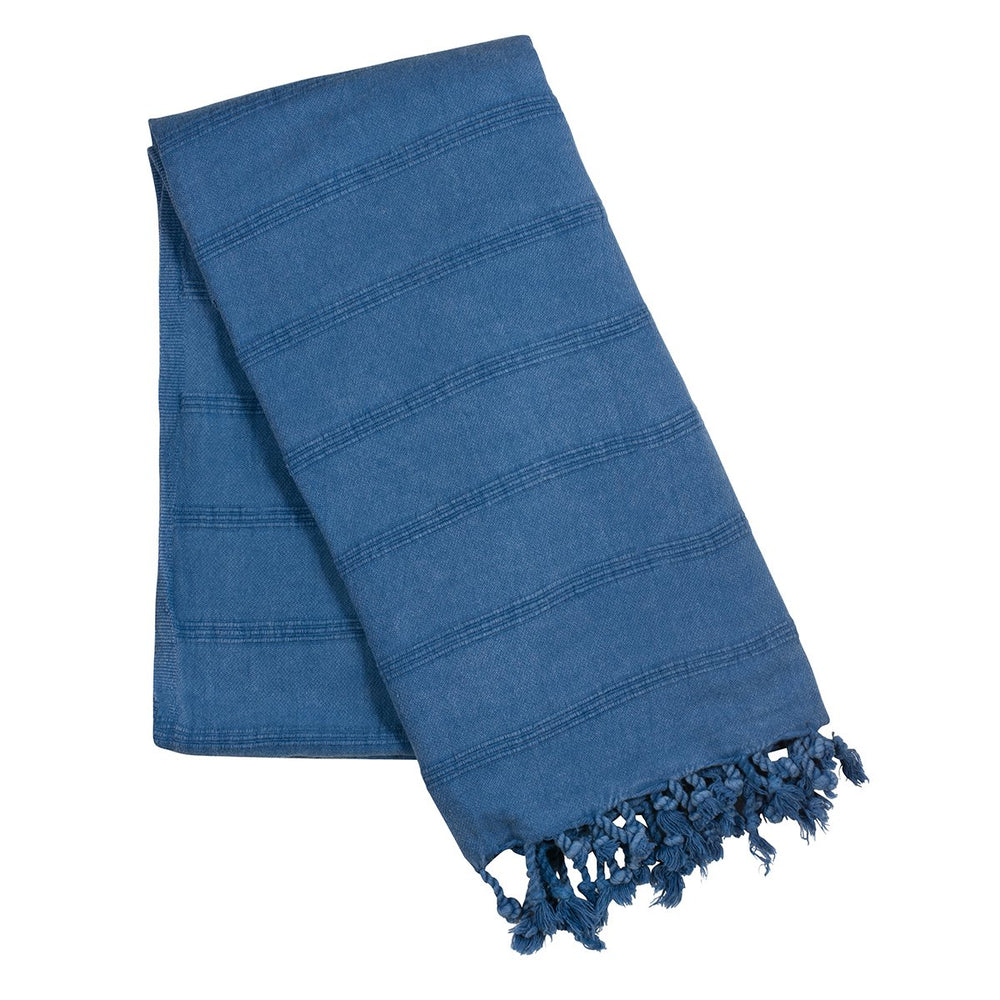 Load image into Gallery viewer, Dark blue stone wash turkish towel