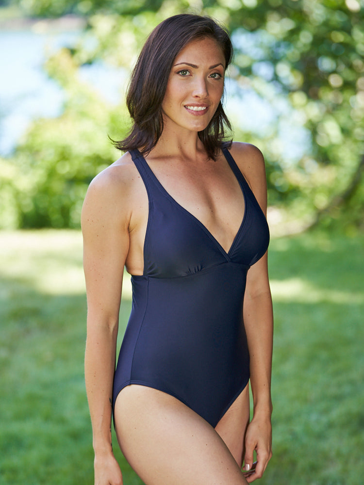 Navy supportive racer back one piece