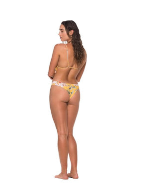 Load image into Gallery viewer, Reversible yellow floral print Malai triangle bikini top