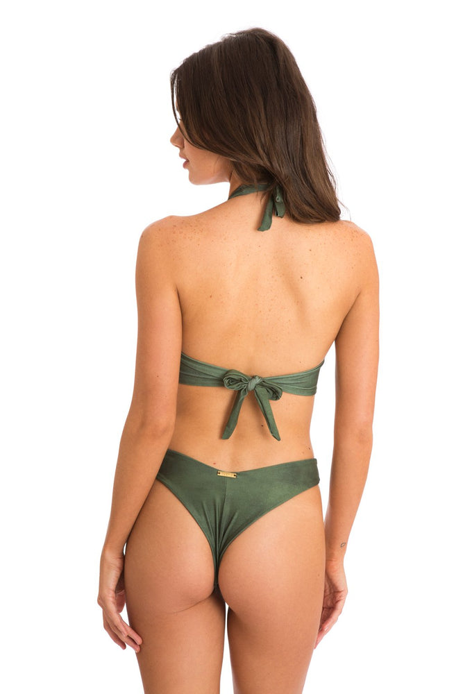 Load image into Gallery viewer, Green high neck halter top