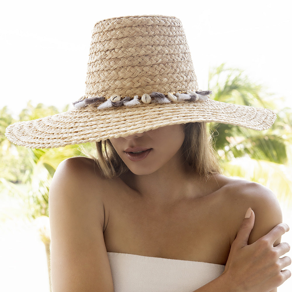 adjustable natural women's hat shells and tassels
