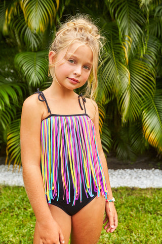 Kids black one piece with long tassel detail