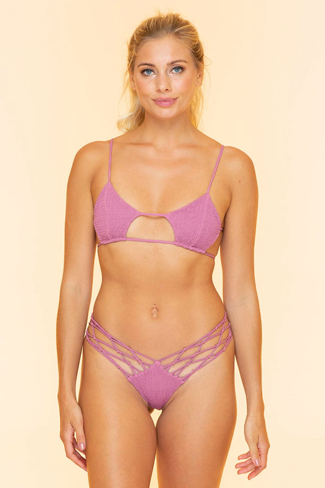 Smocked Light Purple Bikini Top